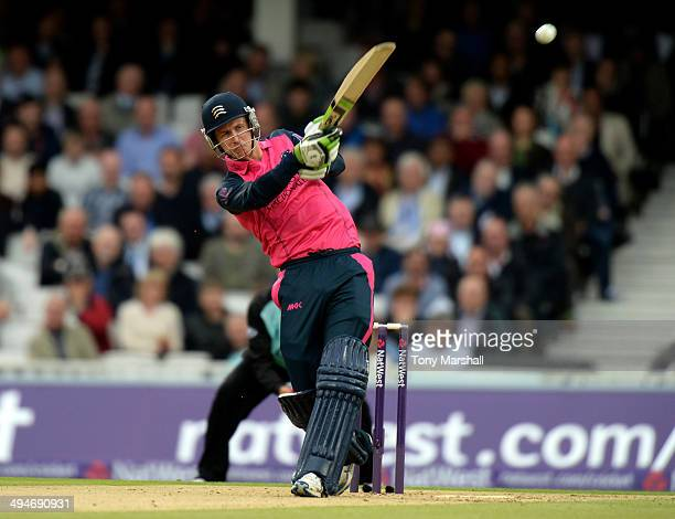 Joe Denly of Middlesex Panthers hits out during the NatWest T20 Blast match between Surrey and Middlesex Panthers at The Kia Oval on May 30 2014 in...