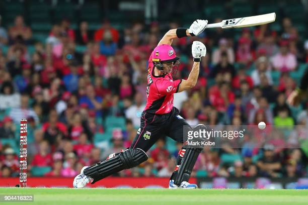Joe Denly of the Sixers bats during the Big Bash League match between the Sydney Sixers and the Sydney Thunder at Sydney Cricket Ground on January 13...