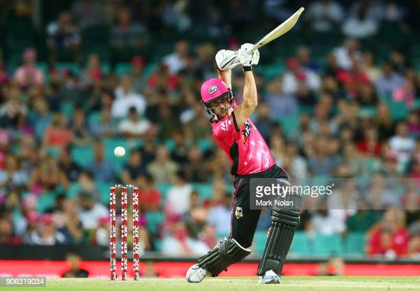 Joe Denly of the Sixers bats during the Big Bash League match between the Sydney Sixers and the Brisbane Heat at Sydney Cricket Ground on January 18...