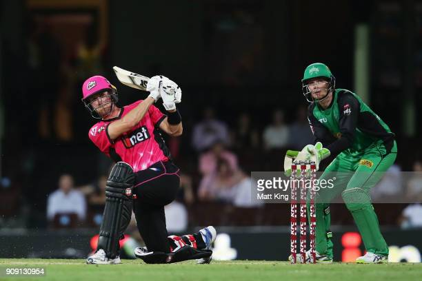 Joe Denly of the Sixers bats during the Big Bash League match between the Sydney Sixers and the Melbourne Stars at Sydney Cricket Ground on January...