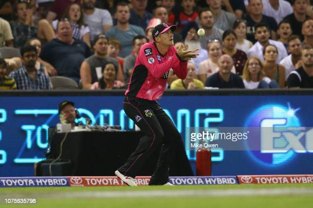 Joe Denly of the Sixers catches out Mohammad Nabi of the Renegades during the Big Bash League match between the Melbourne Renegades and the Sydney...