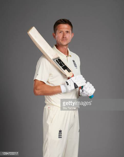 Joe Denly poses for a portrait during the England Test Squad Photo call at Ageas Bowl on July 05, 2020 in Southampton, England.