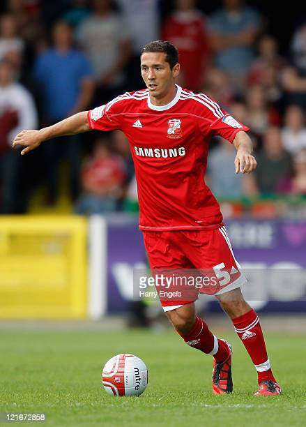 Joe Devera of Swindon Town in action during the npower League Two match between Swindon Town FC and Oxford United at the County Ground on August 21...