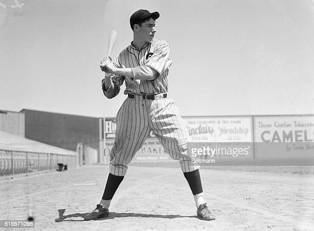 Joe Di Maggio after All-Time Hitting Record. Joe Di Maggio, young 19-year-old outfielder for the Seals, San Francisco's ball club, set a new mark in...