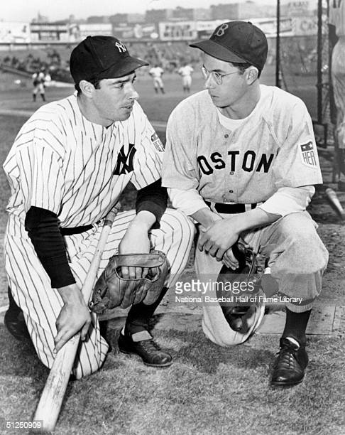 Joe DiMaggio of the New York Yankees poses with his brother Dom DiMaggio of the Boston Red Sox before a game New York 1942 Joe DiMaggio played for...