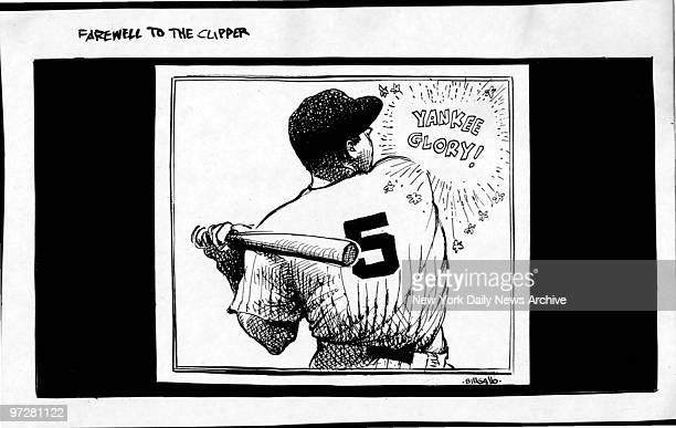 Joe DiMaggio by Bill Gallo Daily News Cartoon Yankee Glory