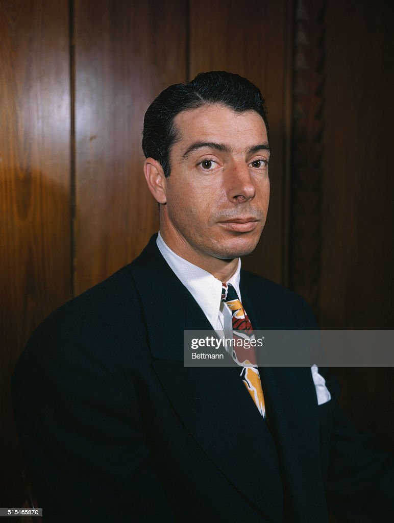 Joe DiMaggio is shown in this portrait, wearing civilian clothing.
