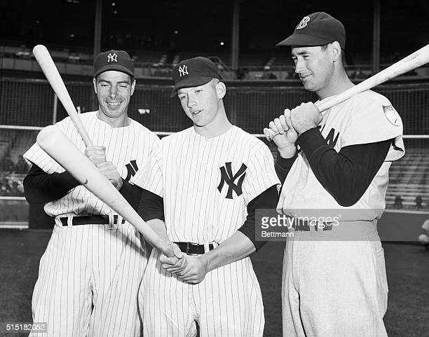 1951 Joe DiMaggio Mickey Mantle and Ted Williams Group photo all of them holding bats and in Yankees uniforms on the diamond Undated Photograph