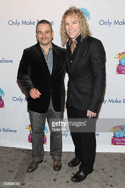 Joe DiPietro and David Bryan of Bon Jovi attend the 12th Annual Make Believe on Broadway gala at the Shubert Theatre on November 14 2011 in New York...