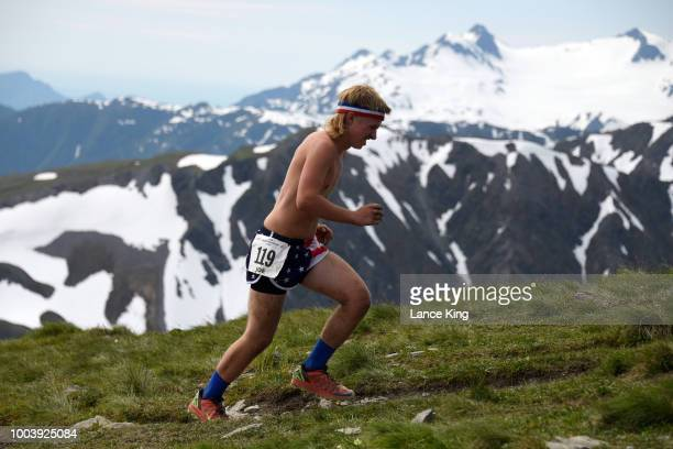 Joe Divelbiss approaches the top of Mount Marathon during the Men's Division of the 91st Running of the Mount Marathon Race on July 4 2018 in Seward...