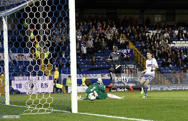 Joe Dodoo of Leicester City scores his second goal to make it 13 during the Capital One Cup second round match between Leicester City and Bury at Gig...