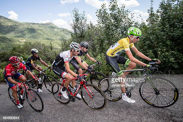 Joe Dombrowski of the CannondaleGarmin Pro Cycling Team leads Frank Schleck of the Trek Factory Team and stage winner Lachlan Norris of the Drapac...