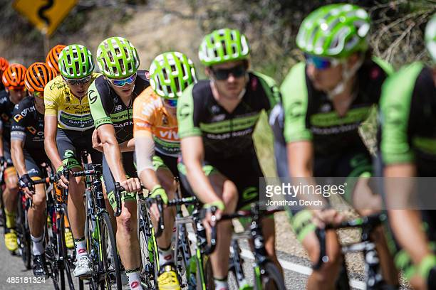 Joe Dombrowski of the CannondaleGarmin Pro Cycling Team stays protected by teammates during stage 7 of the Tour of Utah on August 9 2015 in Park City...