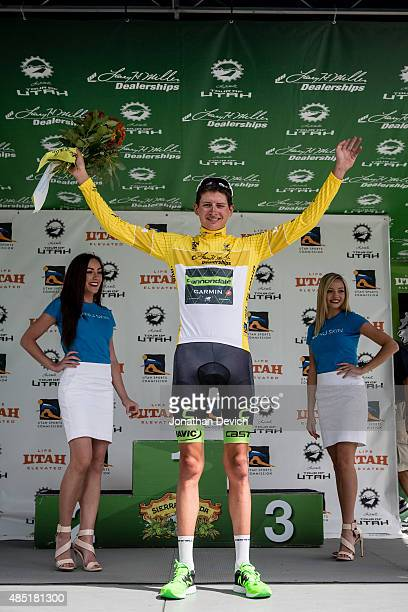 Joe Dombrowski of the CannondaleGarmin Pro Cycling Team takes the yellow jersey on stage 6 of the Tour of Utah on August 8 2015 in Salt Lake City Utah