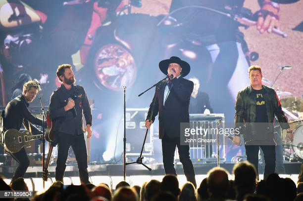 Joe Don Rooney Dierks Bentley Eddie Montgomery and Gary LeVox perform onstage at the 51st annual CMA Awards at the Bridgestone Arena on November 8...