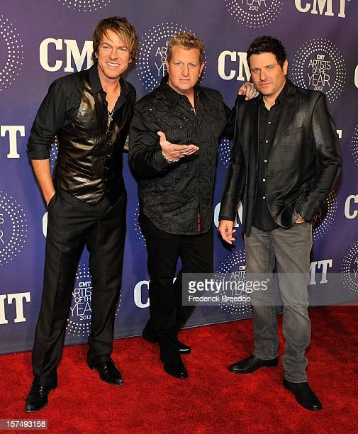 Joe Don Rooney Gary LeVox and Jay DeMarcus of the band Rascal Flatts arrive at the 2012 CMT Artists Of The Year at The Factory At Franklin on...