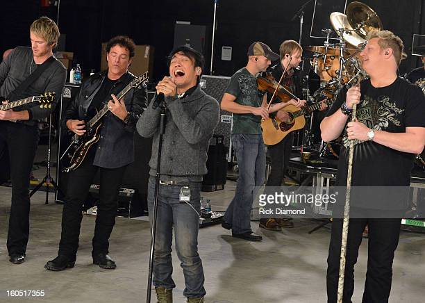 Joe Don Rooney Neal Schon Arnel Pineda and Gary LeVox perform during CMT Crossroads Journey and Rascal Flatts Live from Super Bowl XLVII rehearsals...