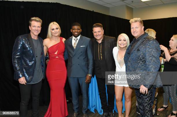 Joe Don Rooney of Rascal Flatts Lindsey Vonn PK Subban Jay DeMarcus of Rascal Flatts RaeLynn and Gary LeVox of Rascal Flatts attend the 2018 CMT...