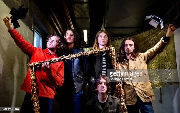 Joe Donovan Charlie Salt Tom Ogden Myles Kellock and Josh Dewhurst of Blossoms pose backstage before an instore signing and performance of their new...
