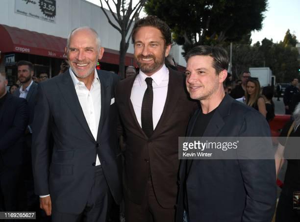 Joe Drake Gerard Butler and Damon Wolf attend the LA Premiere of Lionsgate's Angel Has Fallen at Regency Village Theatre on August 20 2019 in...