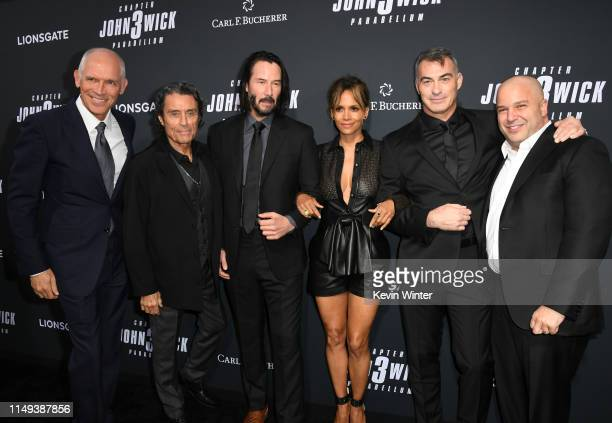 "Joe Drake, Ian McShane, Keanu Reeves, Halle Berry, Chad Stahelski and Nathan Kahane attend the special screening of Lionsgate's ""John Wick: Chapter 3..."