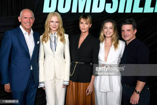 "Joe Drake, Nicole Kidman, Charlize Theron, Margot Robbie, and Damon Wolf attend a special screening of Lionsgate's ""Bombshell"" at Pacific Design..."