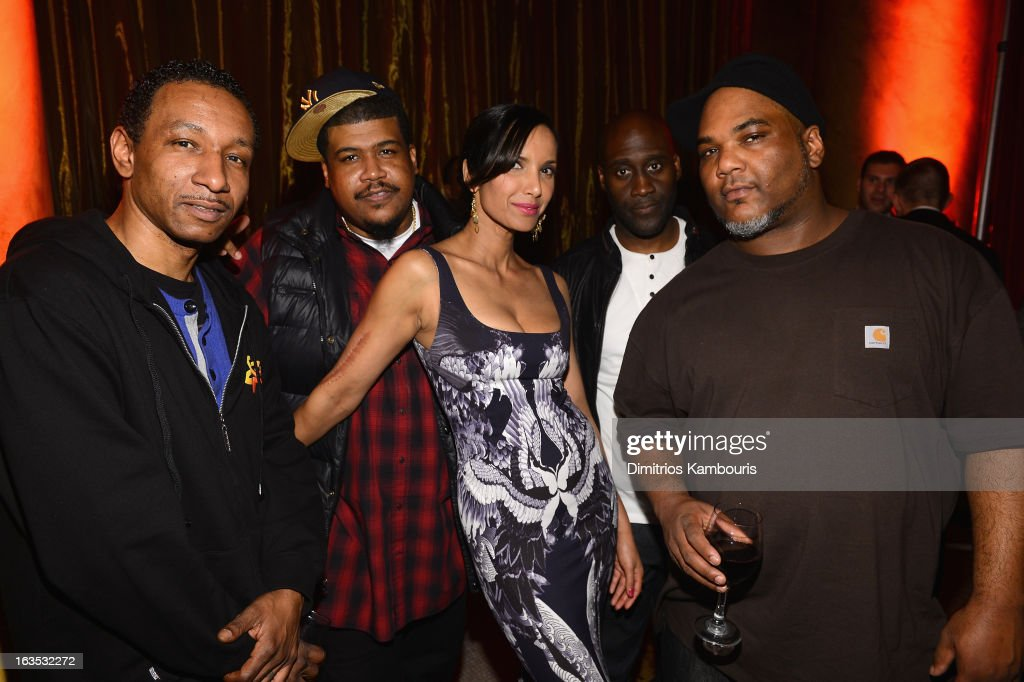 Joe Dres, and Vincent Mason, David Jude Jolicoeur and Kelvin Mercer of De La Soul pose with Padma Lakshmi at the Endometriosis Foundation of America's Celebration of The 5th Annual Blossom Ball at Capitale on March 11, 2013 in New York City.