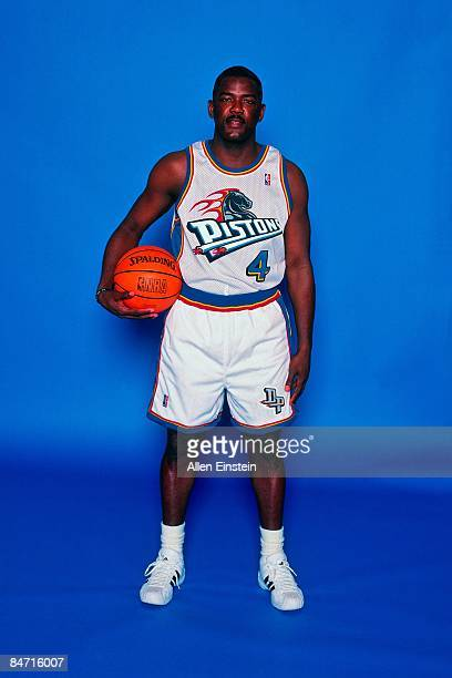 Joe Dumars of the Detroit Pistons poses for portraits during media day at the Palace at Aubrun Hills on January 25 1999 in Auburn Hills Michigan NOTE...