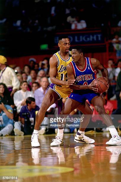 Joe Dumars of the Detroit Pistons stands in triple threat position against the Los Angeles Lakers during Game Three of the 1989 NBA Finals at the...