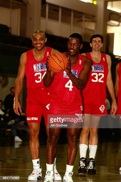 Joe Dumars of the Eastern Conference AllStars shoots the ball during NBA AllStar Practice as part of the 1991 All Star Weekend on February 9 1991 at...