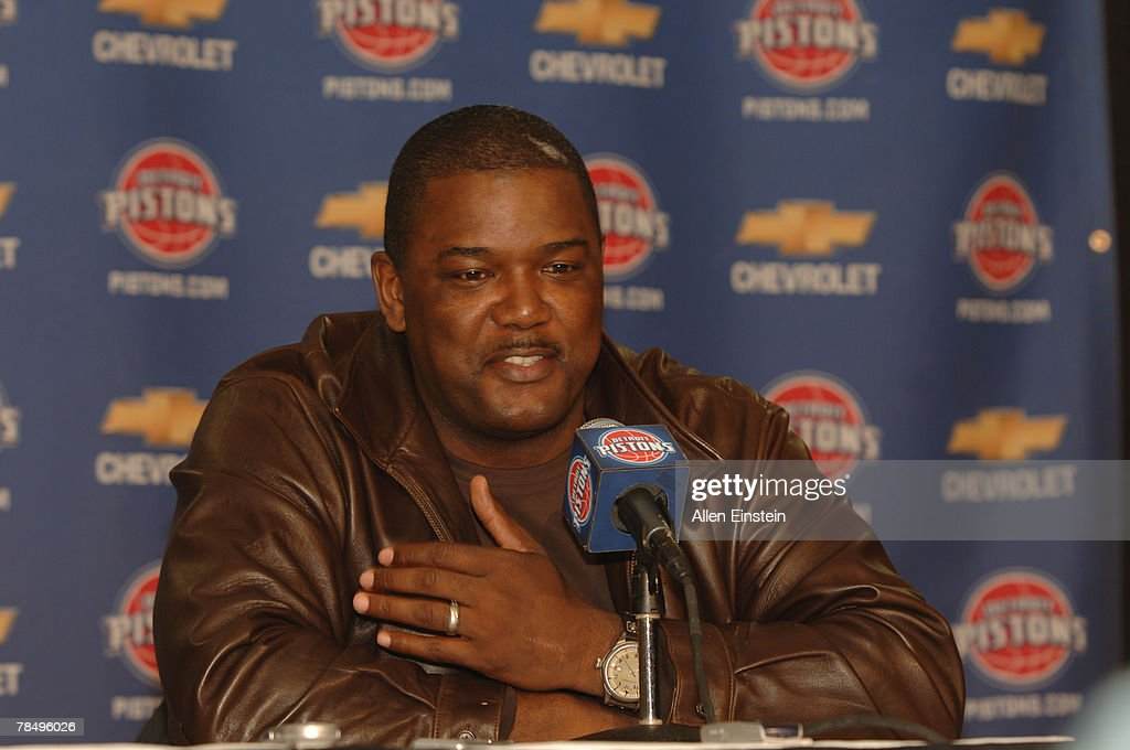 Joe Dumars President of Basketball Operations for the Detroit Pistons announces a trade for Primoz Brezec and Walter Herrmann from the Charlotte Bobcats for the Pistons Nazr Mohammed at the Palace of Auburn Hills December 14, 2007 in Auburn Hills, Michigan. Ronald Dupree was also waived from the Detroit Pistons.