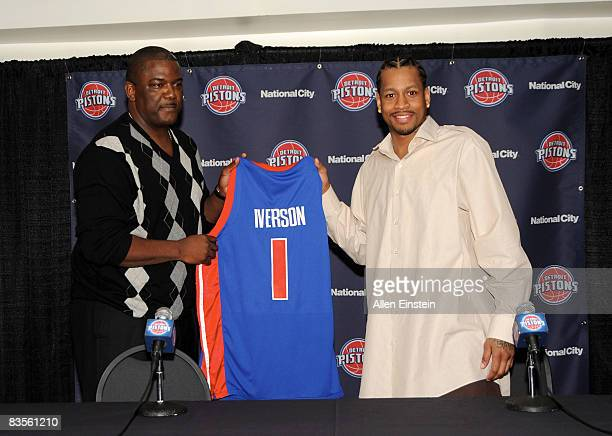 Joe Dumars President of the Detroit Piston introduces newly acquired Allen Iverson to the media at a press conference held at The Palace of Auburn...
