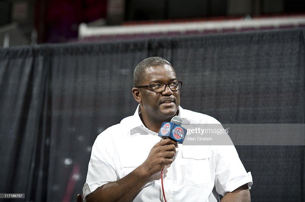 Joe Dumars, President of the Detroit Pistons, speaks to season tickets holders and fans during the Detroit Pistons Draft Night Party at the Palace of Auburn Hills on June 23, 2011 in Auburn Hills, Michigan.