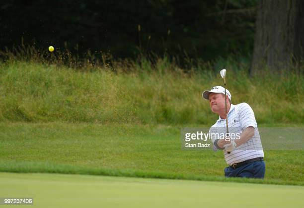 Joe Durant plays a bunker shot on the sixth hole during the first round of the PGA TOUR Champions Constellation SENIOR PLAYERS Championship at Exmoor...