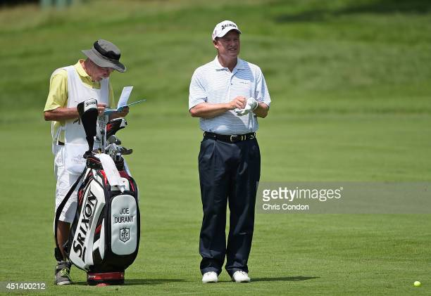 Joe Durant plays from the 10th fairway during the third round of the Constellation SENIOR PLAYERS Championship at Fox Chapel Golf Club on June 28,...