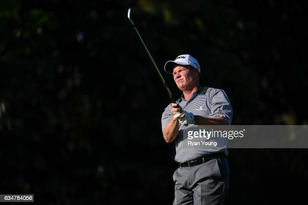Joe Durant tees off on the 16th hole during the second round of the PGA TOUR Champions Allianz Championship at The Old Course at Broken Sound on...