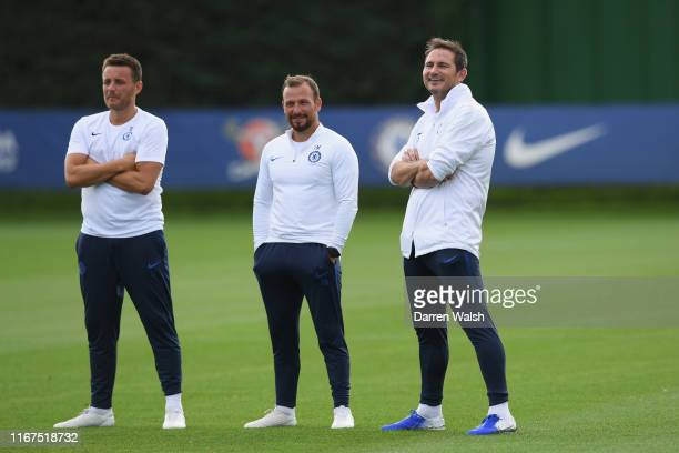 Joe Edwards Jody Morris and Frank Lampard of Chelsea during a training session at Chelsea Training Ground on September 12 2019 in Cobham England