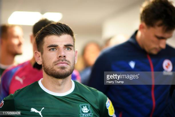 Joe Edwards of Plymouth Argyle lines up for the start during the Carabao Cup Second Round match between Plymouth Argyle and Reading at Home Park on...