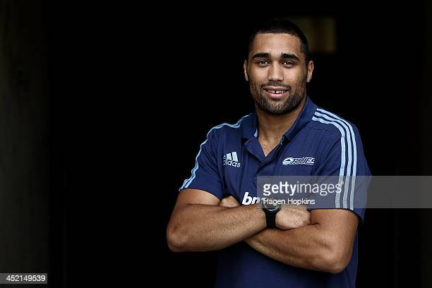 Joe Edwards of the Blues poses during the New Zealand Rugby Union induction day at Westpac Stadium on November 27, 2013 in Wellington, New Zealand.