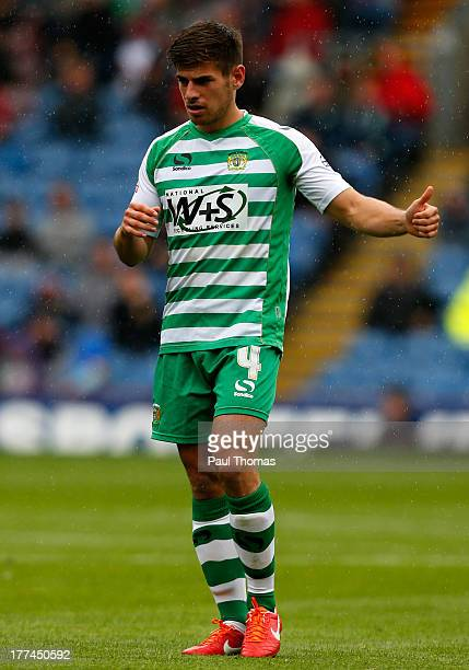 Joe Edwards of Yeovil gestures during the Sky Bet Championship match between Burnley and Yeovil Town at Turf Moor on August 17 2013 in Burnley England