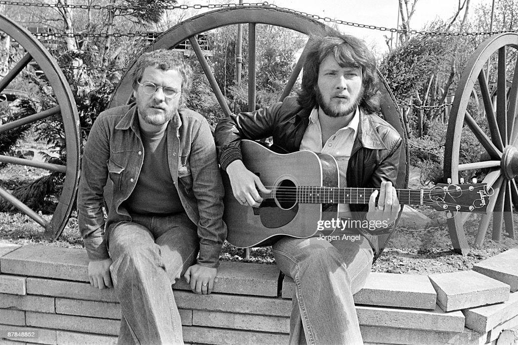 Joe Egan and Gerry Rafferty from Stealers Wheel posed outside Copenhagen, Denmark in April 1974