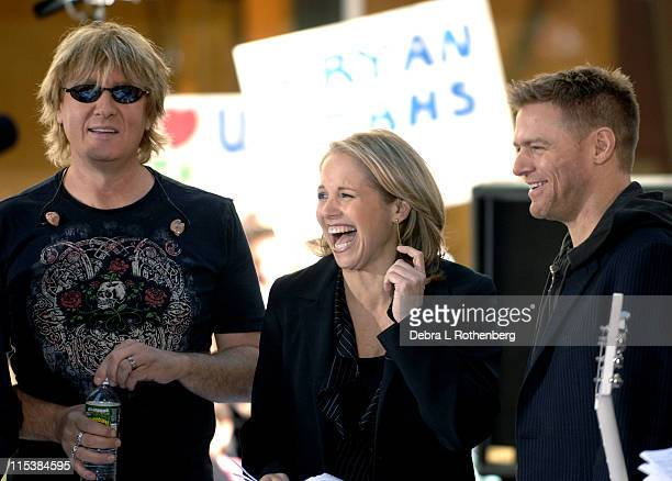 """Joe Elliot, Katie Couric and Bryan Adams during Bryan Adams and Def Leppard Perform on the 2005 """"Today"""" Show Summer Concert Series at Rockefeller..."""
