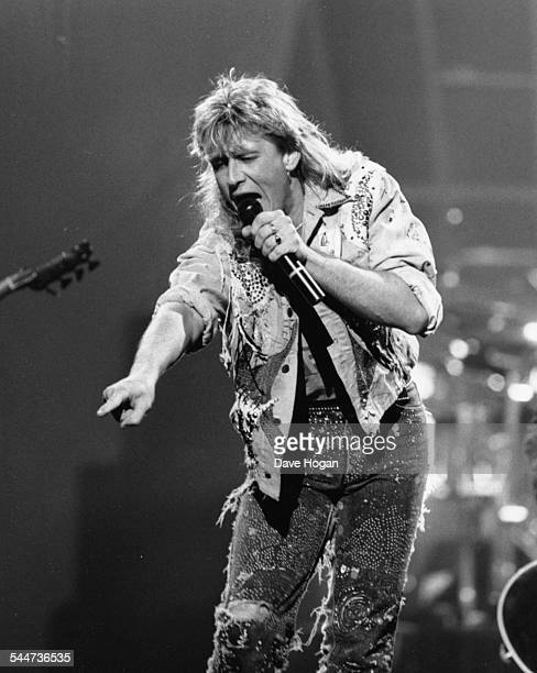 Joe Elliot lead singer with the band 'Def Leppard' performing on stage at the BRIT Awards London February 15th 1989