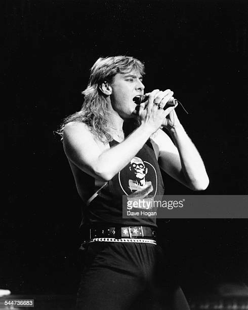 Joe Elliot lead singer with the band 'Def Leppard' performing on stage in Sheffield England October 9th 1987