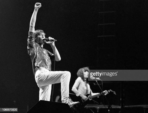 Joe Elliott and Pete Willis of Def Leppard perform at The Fox Theater on September 4 1981 in Atlanta Georgia