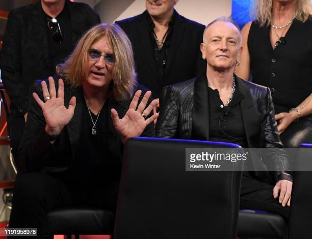 Joe Elliott and Phil Collen of Def Leppard attend the Press Conference with Mötley Crüe Def Leppard and Poison announcing 2020 Stadium Tour on...
