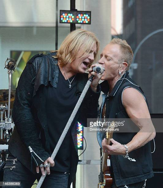 """Joe Elliott and Phill Collen of Def Leppard perform during """"FOX & Friends"""" All American Concert Series at FOX Studios on June 15, 2012 in New York..."""