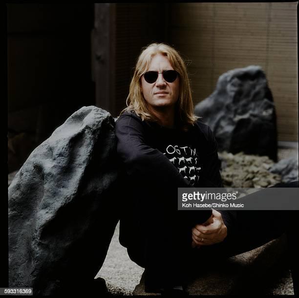 Joe Elliott Def Leppard getting interviewed in a hotel stone garden, Tokyo, June 21, 1996.
