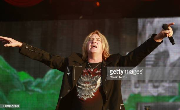 Joe Elliott of Def Leppard performs at day three of the Download Festival at Donington Park on June 14 2009 in Castle Donington England