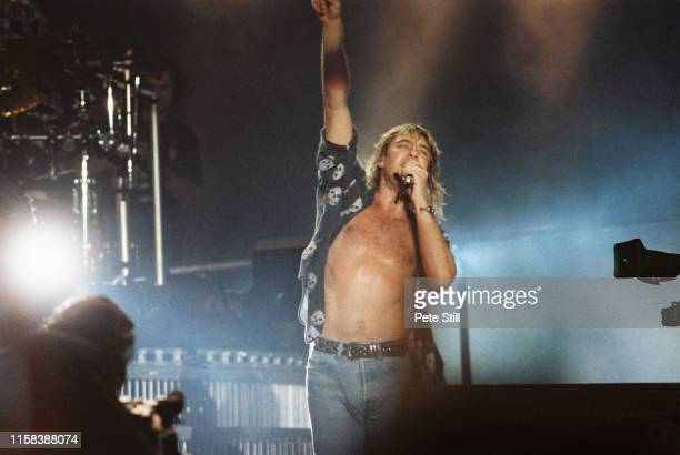 Joe Elliott of Def Leppard performs on stage at The Don Valley Stadium, on June 6th, 1993 in Sheffield, England.